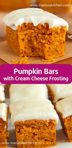 Easy Pumpkin Bars with Cream Cheese Frosting Recipe - Maria's Kitchen Easy Pumpkin Bars, Healthy Pumpkin Bars, Pumpkin Crisp, Pumpkin Cream Cheese Bars, Cream Cheese Cookies, Cheese Pumpkin, Pumpkin Bread, Cream Cheese Recipes Dinner, Instant Pot Cheesecake Recipe