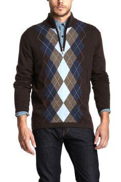 Argyle Partial Zip Sweater