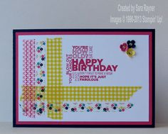 handmade birthday card ... woven washi tape corner ... luv the transparency and contrasting designs ... birthday words group stamped in red ... bright and happy card ... Stampin' Up!
