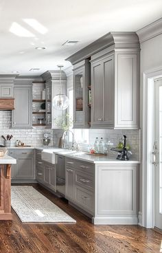 Awesome modern farmhouse kitchen cabinets ideas 36 ~ Design And Decoration Kitchen Ikea, New Kitchen Cabinets, Home Decor Kitchen, Kitchen Backsplash, Rustic Kitchen, Copper Kitchen, Country Kitchen, Kitchen Layout, Grey Cabinets