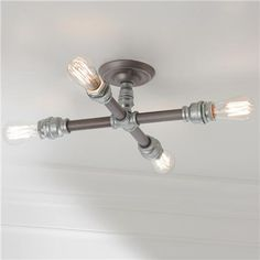 "Industrial Pipe Semi-flush Ceiling Light 6""Hx16""W $160 Cole"