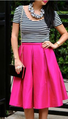 Stripes + statement necklace + a pop of pink!