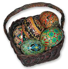 How to make Ukrainian Easter Eggs.  Pysanky is the art of painting beautiful eggs.  I have tried it and it is a lot of fun!  Great fun in a small group of people.