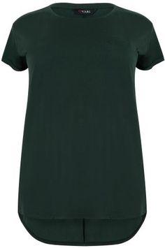 Dark Green Pocket Detail T-Shirt With Dipped Hem