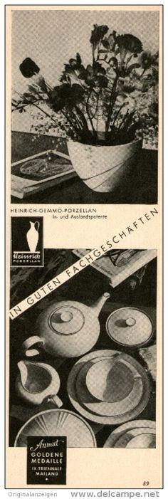 Original-Werbung/Anzeige 1955 - HEINRICH GEMMO PORZELLAN  - ca. 70 x 220 mm