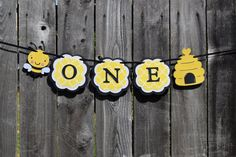 Adorable One Bumble Bee High Chair Banner / Photo Prop / Yellow And Black 1st birthday / Fun To Bee One / Hive / Birthday Party Decorations