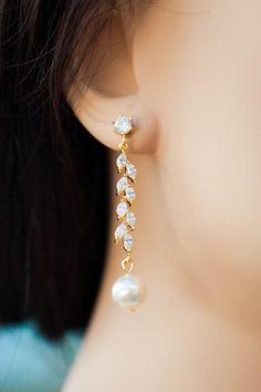 Items similar to Long bar cubic zirconia bridal earrings long gold leaf earrings long bar diamond earrings leaf wedding jewelry cascading leaf bridal earring on Etsy Diamond Earrings Indian, Gold Jhumka Earrings, Jewelry Design Earrings, Gold Earrings Designs, Prom Jewelry, Gold Jewellery Design, Ear Jewelry, Bridal Earrings, Bridal Jewelry
