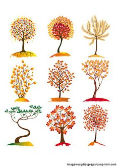 Arboles de otoño para imprimir gratis