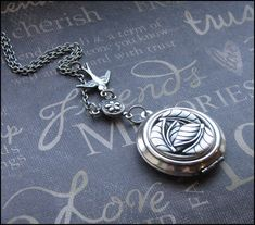 Silver Leaf Locket Necklace  Enchanted by TheEnchantedLocket