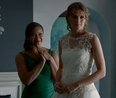 Lanie beams as Martha admires Kate in Johanna Beckett's wedding dress From: http://gossipandgab.com/45927/castle-season-6-review-somewhere-between-fabulous-and-horrible