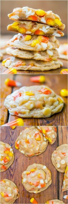 Candy Corn and White Chocolate Chewy Cookies!  These cookies were the biggest last year for the fall/halloween season. I brought in a tray to work and they were simply put devoured by my co-workers. Of course i had to bring them out for friends and family also after testing them on my work friends but if it went over well with them when I bake something I figure it must be good if the plate gets cleaned and I only have a serving dish to bring home!