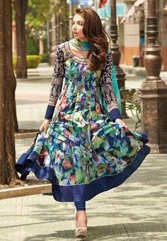 Teal Blue and Dark Blue Cotton Anarkali Churidar Kameez Online Shopping: KGB2449