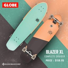 """The Blazer XL is a long length diamond-tail cruiser with built-in bottle opener and soft cruiser wheels. Featuring a Resin-8 hard rock maple deck, mellow concave with kick tail, 6.0"""" Tensor Alloy trucks, 62mm 78a wheels and black griptape. This cool complete cruiser set up is available now @originboardshop   More cool cruisers from Globe at Originboardshop.com   #globeshoes #globeskateboarding #globeskateboards #globecruiser #skater #skateboarding #skatetricks #skatelife #skateshop… Globe Shoes, Rip Curl Bikini, Cruiser Boards, Supra Shoes, Complete Skateboards, Surfer Girl Style, Skate Decks, Vintage Swimsuits"""