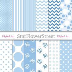 Light Blue Digital Paper Patterns - powder blue and white, polka dot, striped, chevron, flower, scra