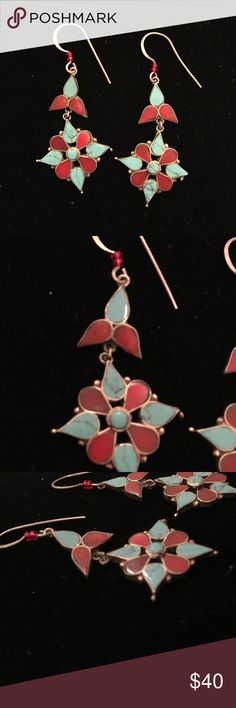 Vintage Silver Turquoise & Coral Earrings These Vintage earrings are made from Sterling stamped 925 silver, Genuine Turquoise and Red Coral. Beautiful vintage patina. Beautiful southwest desert flower shape. Matches anything Bohemian or Ethnic you wear. Open to offers Jewelry Earrings