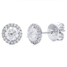 14k White Gold 1 1/6ct TDW Round Diamond Halo Stud Earrings (G-H, SI2-I1) | Overstock™ Shopping - Top Rated Diamond Earrings