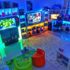Creating a video game room in your house can be actually hard, but these video game room decor photos will aid you Boys Game Room, Boy Room, Teen Game Rooms, Small Game Rooms, Sala Nerd, Home Design, Design Ideas, Bar Designs, Deco Gamer