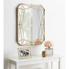 glam home accents Everly Quinn Winfred Geometric Shaped Metal Glam Wall Mirror Finish: Gold Art Deco Mirror, Metal Mirror, Wall Mounted Mirror, Rose Gold Mirror, Wall Mirrors, Diy Mirror, Art Deco Spiegel, Mirror Shapes, Light And Space