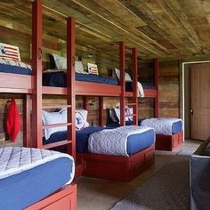 Red Bunk Beds with Blue Bedding, Country, Boy's Room (cottage house plans bunk rooms) Bunk Bed Rooms, Bunk Beds Built In, Bunk Beds With Stairs, Cabin Bunk Beds, Country Boys Rooms, French Country Bedrooms, Boys Room Design, Bunk Bed Designs, French Cottage
