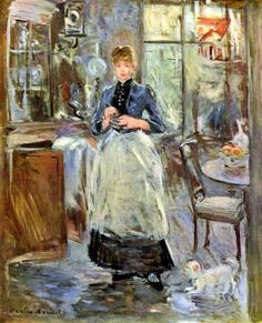 In the Dining Room: 1875 by Berthe Morisot  (National Gallery of Art, Washingon, DC, USA) - Impressionism