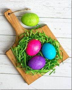How to dye Easter eggs with rice and food coloring - easy and mess free to get beautifully, bold colored Easter eggs with rice and food coloring