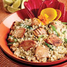 Salade de quinoa au thon Pasta Salad, Cobb Salad, Sandwiches, Menu, Risotto, Grains, Rice, Comme, Ethnic Recipes