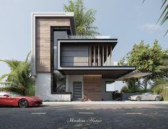 Modern Villa Design, Modern Exterior House Designs, Bungalow Exterior, Exterior Design, Exterior Colors, Bungalow House Design, House Front Design, Modern House Facades, Small Modern Houses