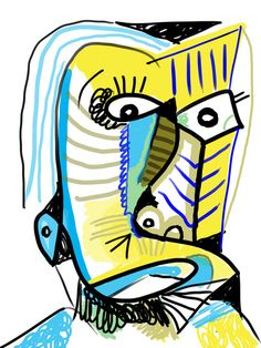 """The Omenteller"" by Matt Vaillette — $19 on http://society6.com/MattVaillette/The-Omenteller_Print #cubism #primitivism #abstract #surrealism #primitive #yellow #blue"