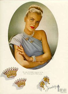 Trifari jewelry ad (as mentioned on PBS Market Warriors show, Trifari is seeing a revival in popularity)