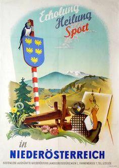Erholung, Heilung, Sport in Niederösterreich, Zeiller, Otto, 1954 Vintage Greeting Cards, Vintage Ephemera, Harry Potter Poster, Travel Ads, Austria Travel, Old Postcards, Vintage Travel Posters, Travelogue, Map Art