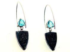 trillion blue topaz, diamonds and onyx druzy---Earrings - Custom Design Earrings - Fort Myers Jeweler - Southwest Florida, Naples, Fort Myers - Mark Loren Designs