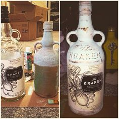 Kraken bottle diy #kraken #diy #distressed #painted #crafts