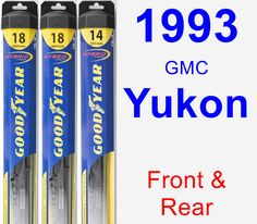 Front & Rear Wiper Blade Pack for 1993 GMC Yukon - Hybrid