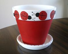 clay+pot+crafts | Small Lady Bug Painted Clay Pot.