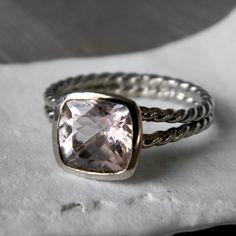 14k Rose Gold and Morganite Rapunzel Ring Custom by onegarnetgirl, $968.00