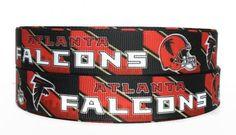 7/8 inch Grosgrain Atlanta Falcons NFL Football Ribbon, Falcons Grosgrain, Sports Ribbon, Trim, Grosgrain By The Yard by KC Elastic Ties