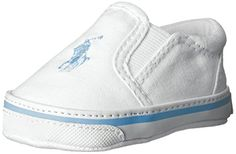 Ralph Lauren Layette Balmount Slip On (Infant), White/Blue, 3 M US Infant Ralph Lauren Layette. High end Fashion for rich babies. Polo Shoes for babies!