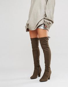 Call it Spring | Call It Spring Qeiven Khaki Sock Heeled Over The Knee Boots at ASOS  Love these boots!