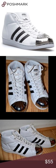 Adidas Metal Toe High Tops - Worn twice, likely new - Signs of wear are just some small, unnoticeable marks that can be cleaned off - Style hard to find in stores - Comes in original box adidas Shoes Sneakers