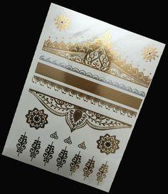 New fashion gold metallic tattoo women body art elephant/flower/evil eye gold flash temporary tattoo tatoo tuajes dorados