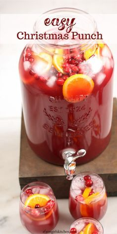 So easy to make this tasty Holiday Punch! Made with cranberry juice, pineapple juice, frozen lemonade, and lemon lime soda. Add a scoop of orange sherbet to make it even better! punch recipes non alcoholic EASY Holiday Punch Christmas Party Food, Christmas Cooking, Christmas Treats, Christmas Holidays, Christmas Jungle Juice, Christmas Candy, Christmas Punch Alcohol, Christmas Cocktail Party, Xmas Food