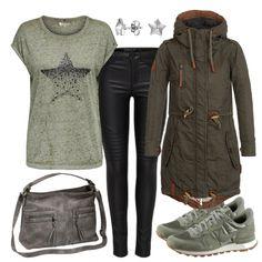Ein modernes Frauenoutfit für deine Freizeit. Das Shirt in Khaki hat einen angesagten Sternendruck und passt farblich ideal zu den Sneakers von Nike und der Jacke von Naketano. Die Jeans von Only ist in Lederiotik und runder das Freizeitstyling cool ab,