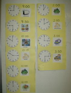 Daily Preschool Schedule - Love the use of the clock so that the children can visualize the time of each part of the day.