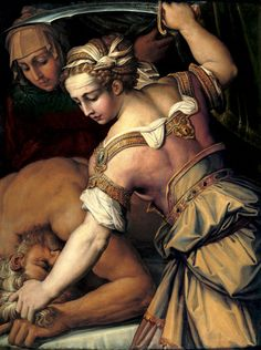 Giorgio Vasari,  Judith and Holofernes, c.1554.   St. Louis Art Museum.  Those are the ripped shoulders of  a woman saving her people.