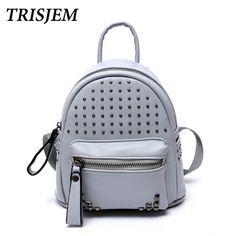 $18  2017 cute teen backpack for girls school bag famous brand black rivet mini pu leather teenage back bag travel sac a dos femme