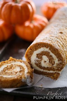 Perfect Pumpkin Roll - This recipe is so moist, and delicious! Cream Cheese and pumpkin are a perfect combo and this dessert is sure to wow everyone who tastes it! Holiday Desserts, Holiday Baking, Just Desserts, Delicious Desserts, Dessert Recipes, Yummy Food, Fall Baking, Pumpkin Recipes, Fall Recipes