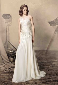 """Sheath style wedding dress, made chiffon and lace, from Papilio """"Road to Hollywood"""" Bridal Collection - www.papilioboutique.com"""
