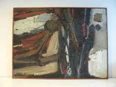 original mid century abstract painting/ 1960s by secreteyesonly, $175.00