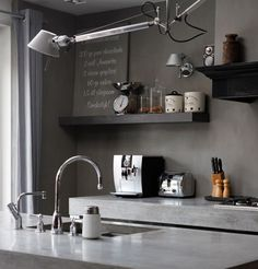concrete countertop + wall