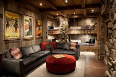 Basement man cave cabin kids rustic with movie posters movie posters